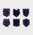 shields icon set coat arm collection glitch vector image