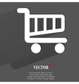 Shopping basket Flat modern web button with long vector image