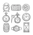 sketch clock doodle watch alarm and timer sand vector image