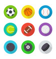 sports balls set flat cartoon balls vector image vector image