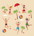 summer people and beach vector image vector image