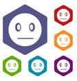 suspicious emoticon icons set vector image vector image