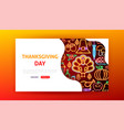 thanksgiving day neon landing page vector image vector image