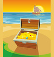 treasure chest on a desert island flat vector image vector image