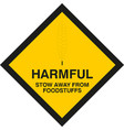 warning sign harmful stow away from foodstuffs vector image vector image