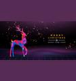 year retro 80s neon deer party card vector image vector image