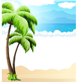 Beach with palm trees vector image