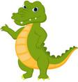 happy crocodile cartoon presenting vector image