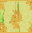 seamless pattern from yellow gladiolus vector image