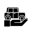 auto insurance - car in hand icon vector image vector image