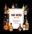 bar menu frame alcohol drinks vector image