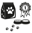 black and white cat care poster silhouette vector image vector image