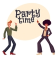 Black and white men in 1970s style clothes dancing vector image vector image