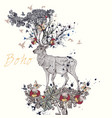 boho hand drawn deer flowers in it horns vector image vector image