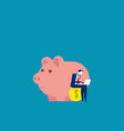 businessman working near piggy concept business vector image vector image