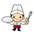 chef character is holding a plate and a fork vector image
