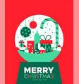 christmas and new year card city snowglobe vector image vector image
