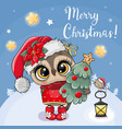 christmas card cute cartoon owl with christmas vector image