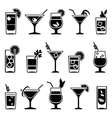 Cocktails and drinks black icons vector image vector image