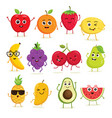 collection cute fruits vector image