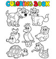 coloring book with pets 2 vector image vector image
