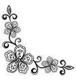 corner ornamental lace flowers black and white vector image vector image