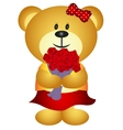 Cute Cartoon GIrl Bear Bring Bouquet of flower vector image vector image