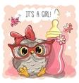 Cute Cartoon Owl girl vector image vector image