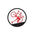 Cyclocross Athlete Running Uphill Circle vector image vector image