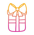 degraded line present gift box with ribbon bow vector image vector image