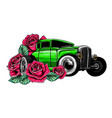 easter car retro automobile driving a bouquet of vector image