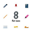 flat icon equipment set of date block pushpin vector image