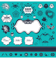 Floral elements and frames vector image
