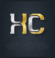 gold logo inlaid with silver x and c - initials vector image vector image