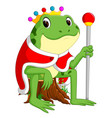 green frog with using crown vector image