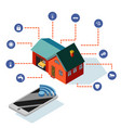 isometric smart house control system technology vector image