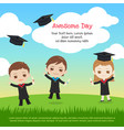 kids graduation day with boy and girl in gown vector image