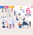 little children education scenes flat set vector image