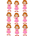Little girl in various expression isolated vector image vector image