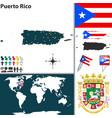 map puerto rico vector image vector image