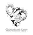 mechanical heart lineart vector image vector image