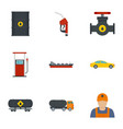 oil petrol icon set flat style vector image