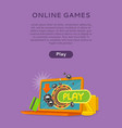 Online games web banner isolated with play button