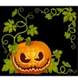 pumpkin jack vintage corner isolated on black vector image