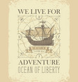 retro travel banner with sailing ship and old map vector image vector image
