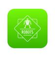 robot technology icon green vector image vector image