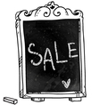 Sale announcement on a chalkboard