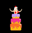 santa girl from cake striptease congratulation vector image vector image