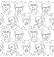 seamless pattern with bearded man one line art vector image vector image