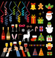 set new years and christmas accessories vector image vector image